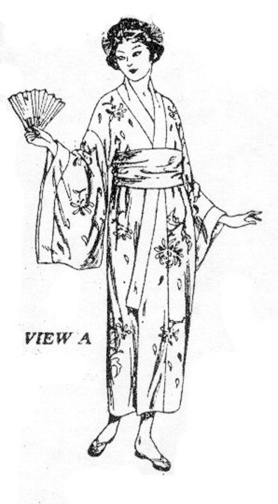 Vintage Inspired Nightgowns, Robes, Pajamas, Baby Dolls 1923 Kimono (or Peignor) EvaDress Pattern 36 bust $20.00 AT vintagedancer.com