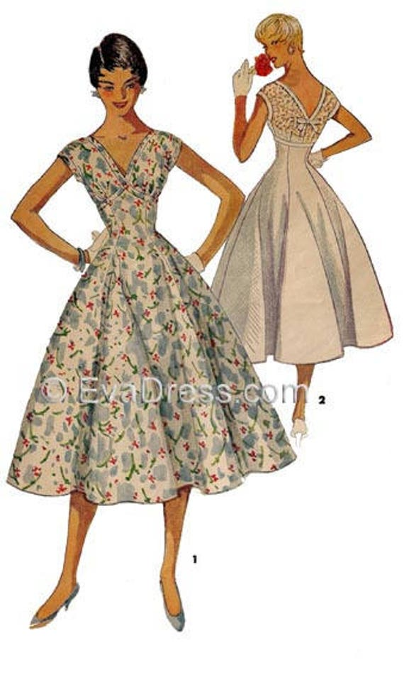 1950s Sewing Patterns | Swing and Wiggle Dresses, Skirts 1954 Dress Pattern by EvaDress1954 Dress Pattern by EvaDress  AT vintagedancer.com