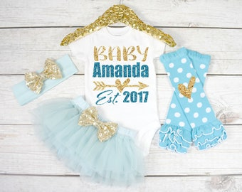 Newborn Outfit. Take home Outfit. Newborn Outfit Girl. New Baby Outfit. Personalized Newborn Outfit. Newborn Photo Outfit (S45) (NWB) (AQUA)
