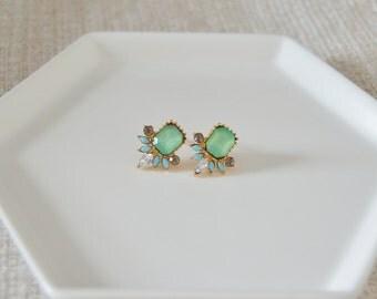 Jeweled Post Earrings, Charcoal, Robin Egg Blue, Sage Green