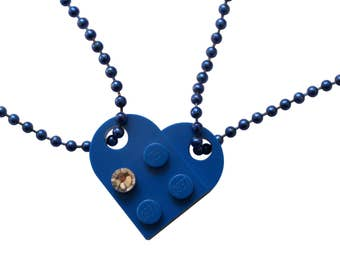 Dark Blue 2 piece customizable heart made from 2 LEGO (R) plates with a Diamond color SWAROVSKI crystal on 2 Blue ballchains - Best Friends