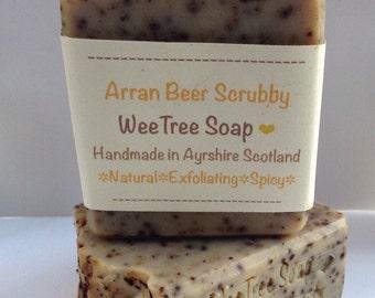 Arran Beer Scrubby Scottish Natural Handmade Exfoliating Soap Bar