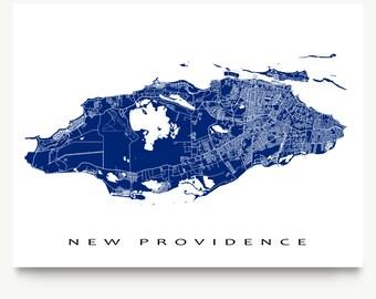 New Providence Map Print, Nassau Map Art, The Bahamas, Caribbean Island