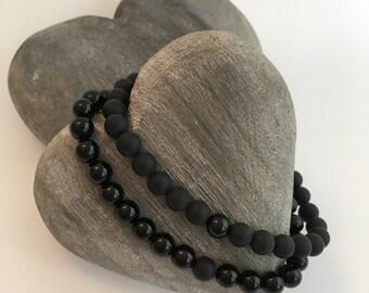 Onyx couples bracelets, mens onyx, boyfriend gift, girlfriend gift, his and his, matte black Onyx and polished black Onyx bracelet set