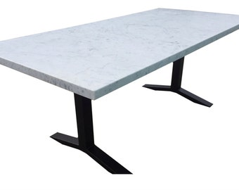 Rectangular White Marble Dining Table with Black Steel Pedestal Base