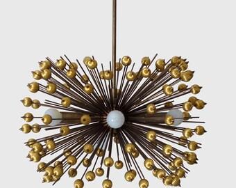 Mid Century Modern Brass Bead Starburst Chandelier Ceiling Light Pendant Lamp
