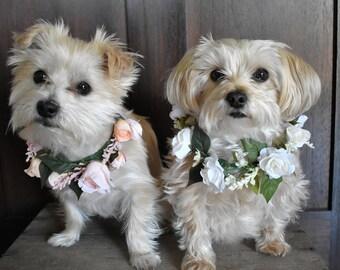 Dog Flower Collar, Dog Wedding Collar, Dog Flower Crown, Dog of Honor, Dog Wedding Attire, Wedding Flower Collar, Pet Flower Collar