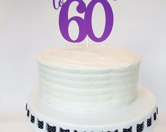 60th Birthday Cake Topper - Cheers to 60 - Birthday Cake Topper - Personalized - Custom - Party - Anniversary - Celebration