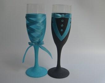 Corset   Tuxedo Glittered Champagne Glass