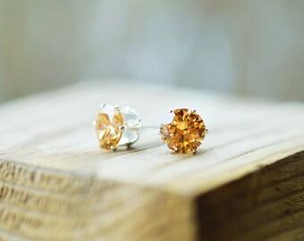 Citrine Earrings Gold Citrine Earrings 18k White Gold Earrings 18k Gold Studs November Birthstone Earrings Citrine Stud Earrings