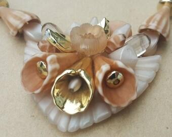 Vintage Flower Necklace 1980s Statement Floral Lucite Plastic Necklace