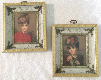 ornate filigree framed lady portrait set in gold u0026 cream glamour girl portraits in shadow