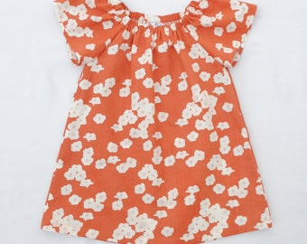 Organic Baby Dress,Organic Toddler Dress,Birch Organics,POPPIES CORAL,Double Gauze