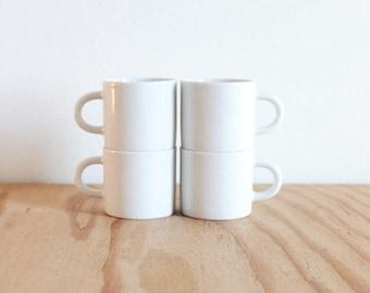 Four White Waechtersbach Espresso Cups