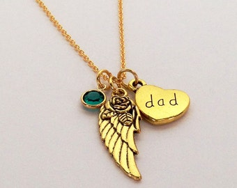 Dad Remembrance Necklace Gold, Loss of Father, Sympathy Gift, Gold Memorial Jewelry Dad,  Dad Memorial, In Loving Memory Of Dad, Loss of Dad