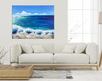 Beach painting, Ocean Seascape Palette knife, Waves Acrylic Impasto Abstract Landscape Texture painting, California beach, Modern wall art