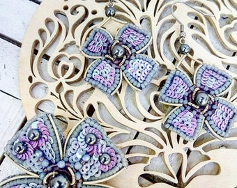 Embroidery in beads earrings & brooche - beadwork jewelry-beaded embroidery jewelry.