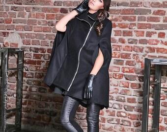 Winter Cape Coat/ Black Poncho Cape/ Womens Cape Coat/ Wool Cape Coat/ Cape Jacket/ Plus Size Goth Coat/ Womens Outerwear/ Steampunk Coat