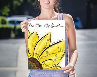 Sunflower Nursery Art, Yellow Flower Art Print, Sunflower Art Print, My Sunshine Wall Art, Sunflower Wall Decor, Sunflower Art Gift