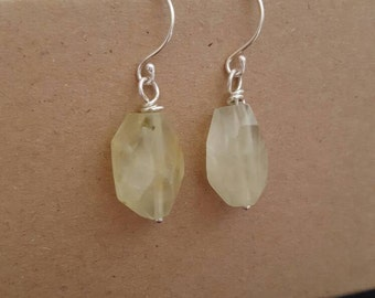 Pale green prehnite drop earrings. Pretty faceted prehnite drops. Faceted grapestone and silver earrings. Simple silver earrings. Handmade