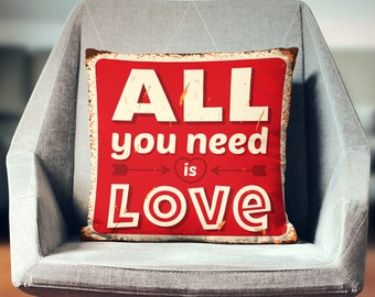 The Beatles Quote Art | The Beatles Gift | All You Need is Love | The Beatles Pillow | Beatles Decor | Beatles Song