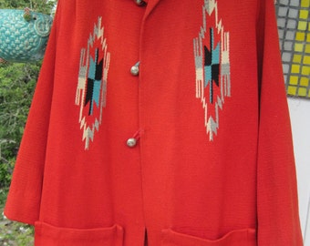 Chimayo Coat Vintage Handwoven Wool Classic Southwest Jacket Diamond Pattern Great Condition Red with Silver Buttons