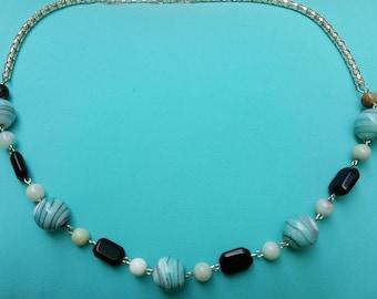 Blue Swirl Glass & Amazonite Necklace