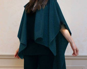 Wool Cashmere Poncho Cape