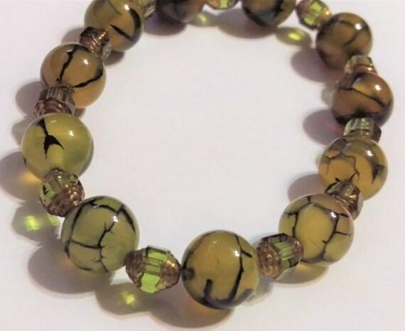 Dragon Veins Agate & Czech Glass Bracelet, Beaded Bracelet, Stretch Bracelet, Bohemian, Natural Stone, Boho Chic, For Her, Wife, Girlfriend