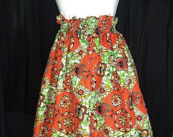 Vibrant orange and green Ankara Skirt