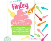 Frozen Yogurt Invitation | FROYO Invitation | Ice Cream Invitation- 5x7 with reverse side