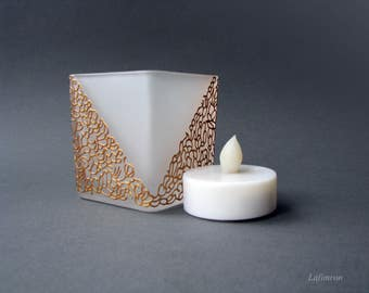 Unique gift for friends White and gold geometric table decor Office square candle holder New home gift table centerpiece Baroque LED