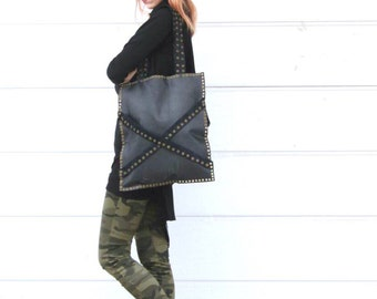 FREE SHIPPING / Leather Tote Bag With Eyelets / Black Tote Bag / Large Tote Bag by FabraModaStudio / A905