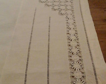 Hand embroidered linen square tablecloth / vintage / French /square linen tablecloth