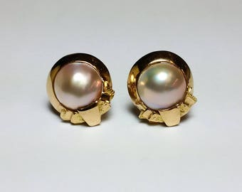 Vintage 14K Gold Pearl Earrings