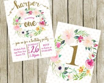 First Birthday Invitation for Girls Printable, First Birthday Party Invitation Girl, FIRST Birthday - Double Sided, Girl Birthday Invitation