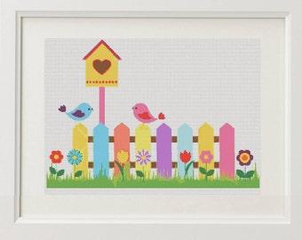 Bird House Cross Stitch Pattern