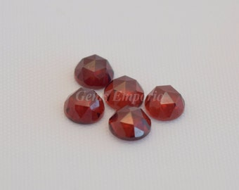 Red Garnet 6 MM Round Rose Cut Cabochons. Garnet Faceted Cabs / January Birthstone / Price per piece.