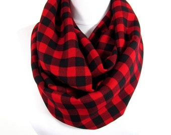 Plaid Scarf Infinity Scarf Buffalo Plaid Scarf Red Circle Scarf Christmas Gift For Her Gift For Him Winter Women Fashion Accessory Men Scarf