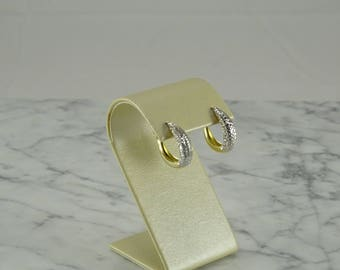 14K Yellow & White Diamond Cut Gold Small Hoop Earrings (pierced)