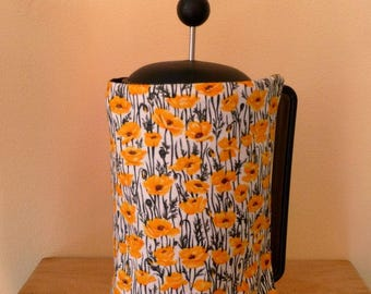 yellow poppy cafetiere cover