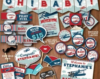Amazing Self Editing Vintage Airplane Baby Shower Decoration Airplane Baby Shower  Decors Printable Airplane