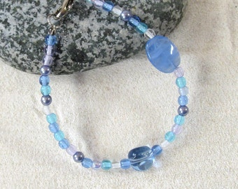 Blue Glass & Seed Bead Bracelet - Nature Inspired Blue Beaded Jewelry - Beachy Bracelets - Spring or Mother's Day Jewelry