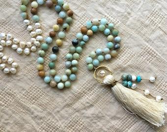 108 Bead Tassel Necklace - Mala Necklace - Tassel Necklace - Mala Beads - 108 Mala Beads - Prayer Beads - Yoga Jewelry - Meditation Beads