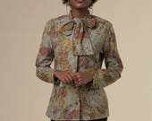 70's Floral Button Up with Bow // 70s Orange, Brown and Yellow Polyester Top with Tied Collar// Retro Blouse