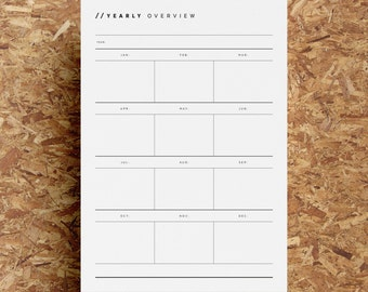 Blank Yearly Overview Printable | Undated Year Planner | Year At A Glance | Minimalist | Black White | A4 | US Letter | Instant Download