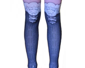 Steampunk Custom Corset Printed Tattoo Tights Vintage Lace Gear Adult Spandex Footed Seamless Leggings Opaque Pink Black White w/ Garter