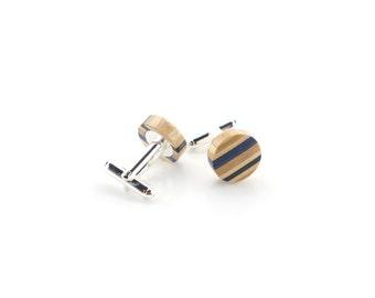 Blue Wood Cufflinks - Recycled Skateboard Cufflinks - Womens Cufflinks - Wedding Gift - Wooden Cufflinks - Groomsmen Gift - Cufflinks Set