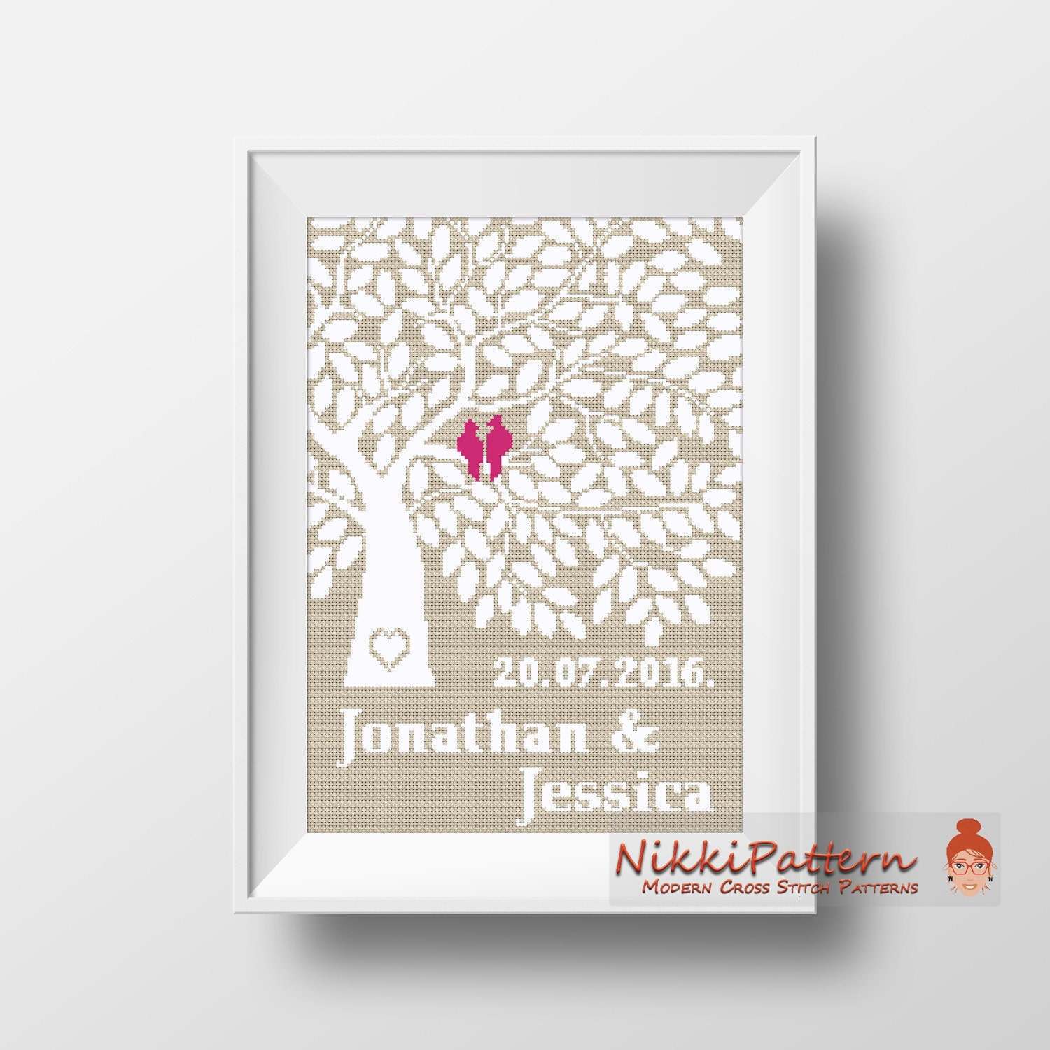 Wedding cross stitch pattern personalized modern