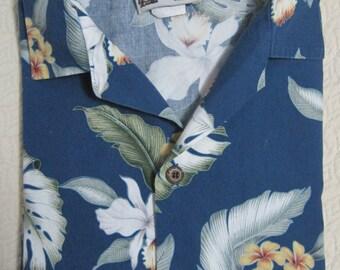 Boy's HAWAIIAN Shirt, Aloha Republic, Cotton, Blue, White, Yellow, Tropical Floral Print, Short Sleeve, Made in Hawaii, USA